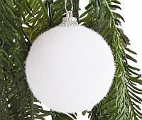 Белые елочные шары набор 6 шт*6 см, пластик, фото 1