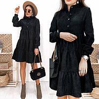 Чёрное вельветовое платье-трапеция, фото 1