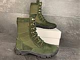 Зимние ботинки, берцы (тактическая обувь, зима. Натуральна замша, з хутром. Темно-зеленые), фото 5