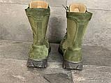 Зимние ботинки, берцы (тактическая обувь, зима. Натуральна замша, з хутром. Темно-зеленые), фото 6