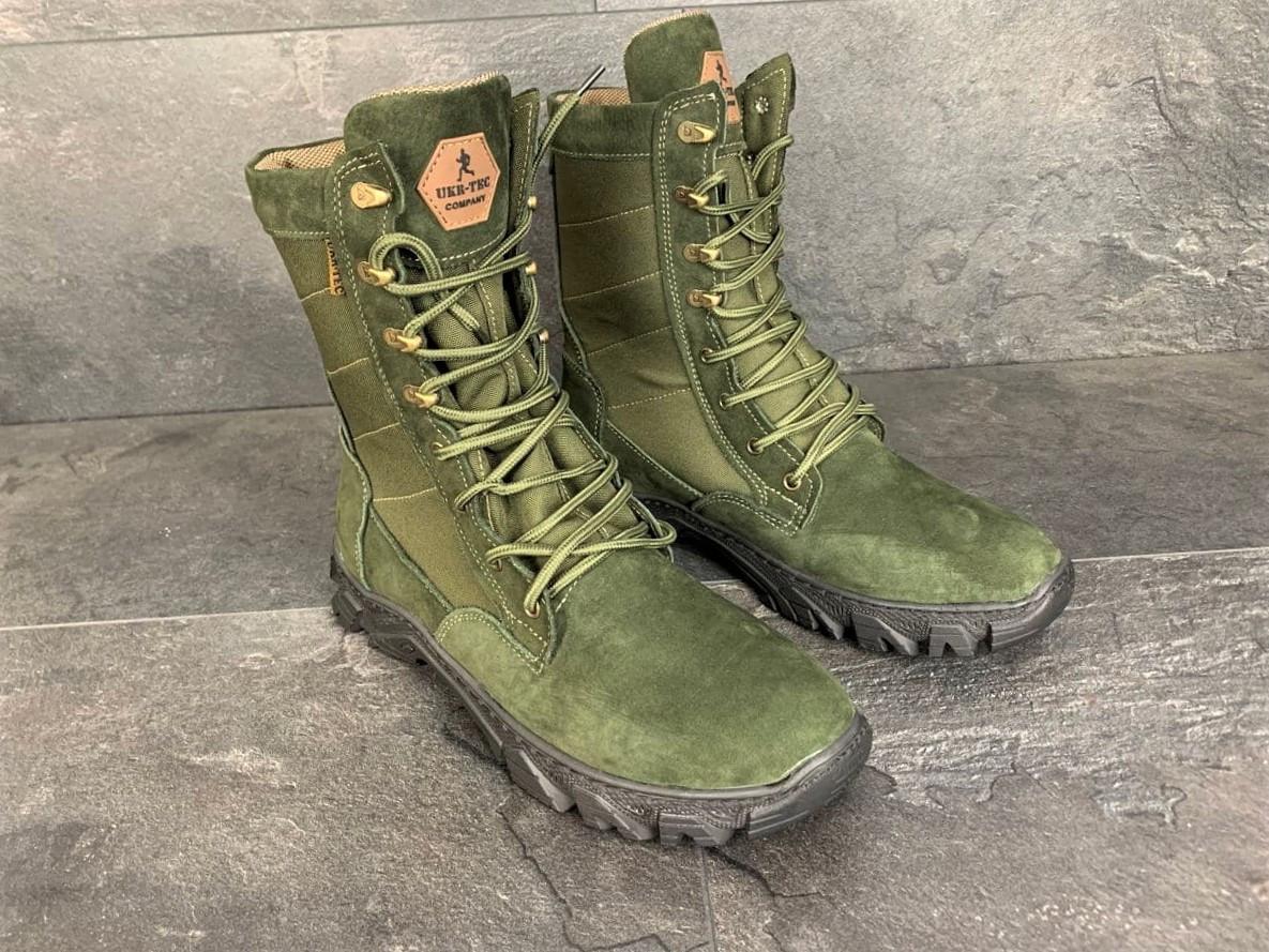 Зимние ботинки, берцы (тактическая обувь, зима. Натуральна замша, з хутром. Темно-зеленые)