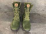 Зимние ботинки, берцы (тактическая обувь, зима. Натуральна замша, з хутром. Темно-зеленые), фото 2