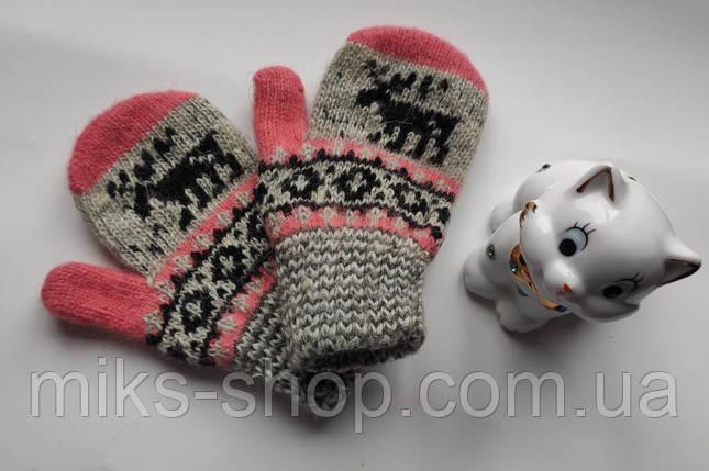 Рукавиці рукавиці 100 % шерсть на 2-4 р, фото 2
