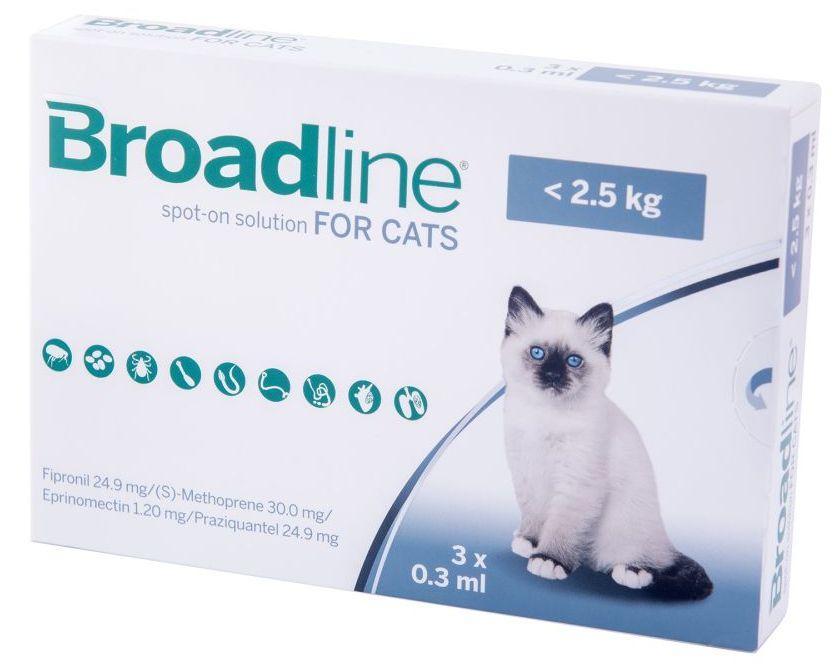 БРОДЛАЙН для кішок до 2.5 кг BROADLINE краплі на холку від бліх і кліщів, 1 піпетка