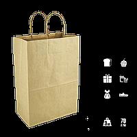 Паперовий пакет крафтовый з крученими ручками 180*85*220мм (Ш. Р. В) Пл 70г Нагр 3кг (687), фото 1