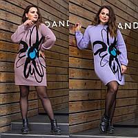 Теплое вязаное платье с цветочным рисунком., фото 1