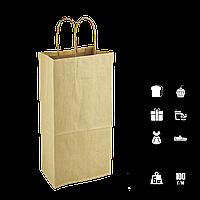 Паперовий пакет крафтовый з крученими ручками під пляшку 150*90*400мм (Ш. Р. В) Пл 100г Нагр 5кг (1002), фото 1