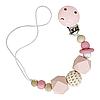 Цепочка деревянная с вязанным шариком (розовый)