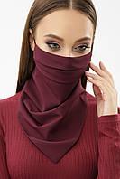 Женская маска платок бордового цвета на резинке