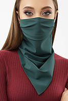 Женская маска платок зеленого цвета на резинке