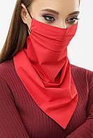 Женская маска платок красного цвета на резинке