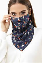 Женская синяя маска платок с цветочным принтом на резинке