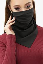 Женская черная маска платок с на резинке