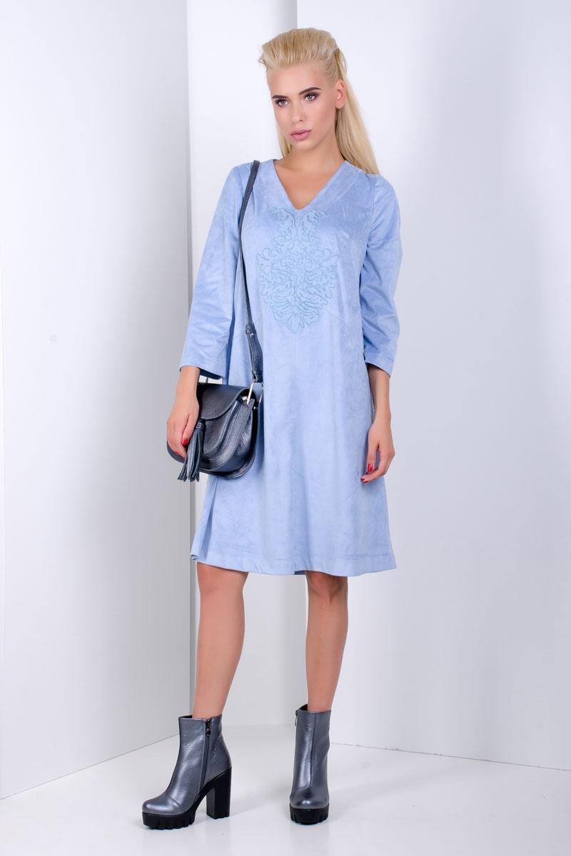 1918 платье Николь замш, голубой (42-44)