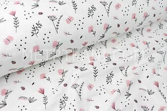 """Муслін 100% """"Квіточки і бабачки кораловые"""" на білому тлі № 3-149"""