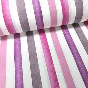 Ткань поплин полоска акварель розово-фиолетовая (ТУРЦИЯ шир. 2,4 м)