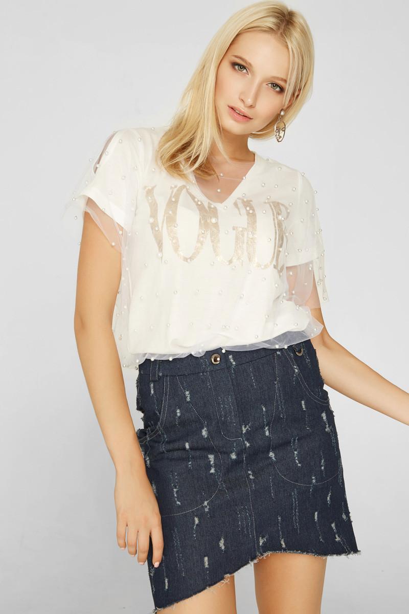 2171 футболка Vogue, белый - золото (42-44)