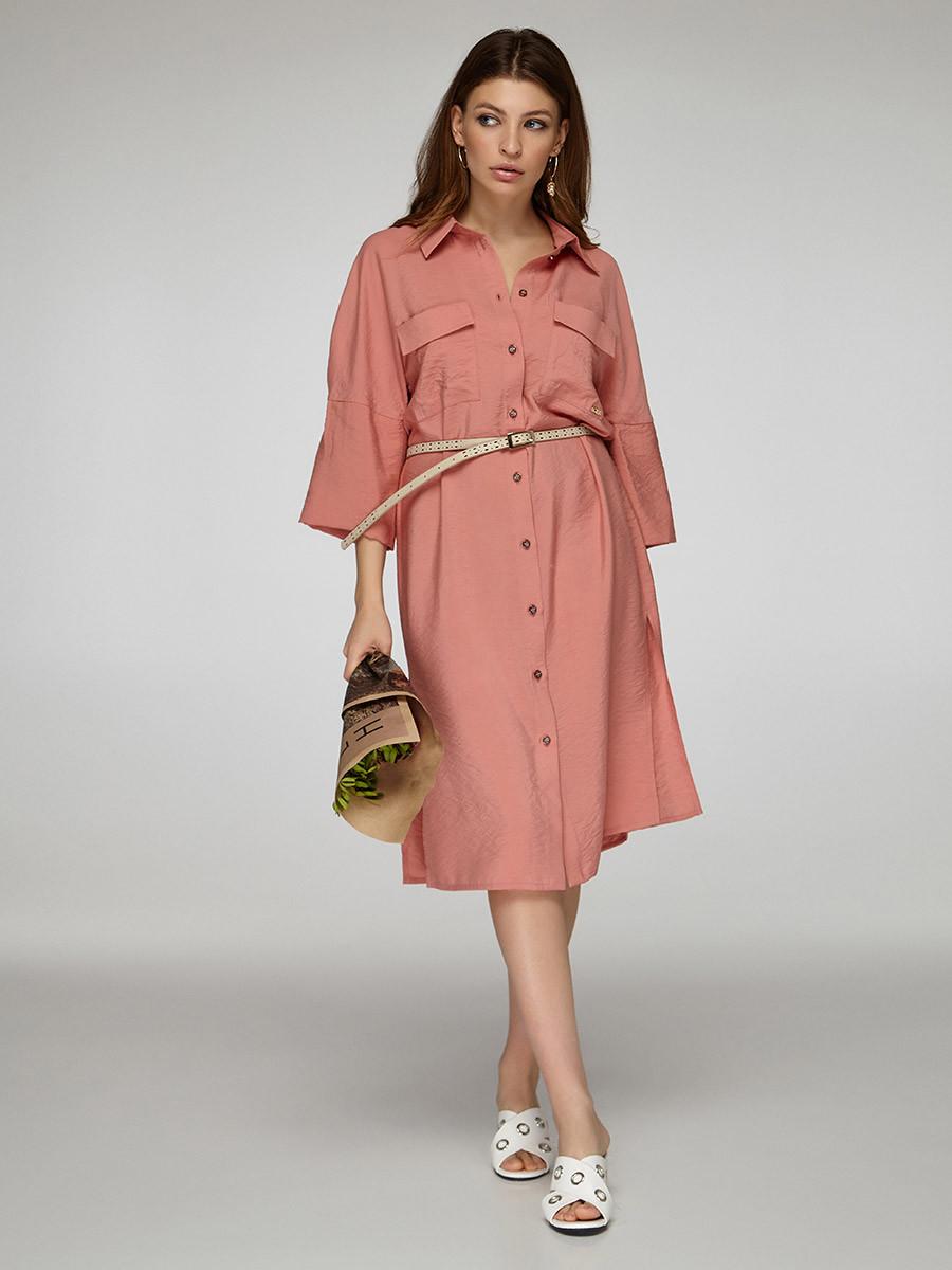 2348  платье-рубашка Амина, пудра (S)