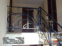 """Эксклюзивные дизайнерские кованые лестничные ограждения (перила) с коваными цветами - """"премиум класс"""""""