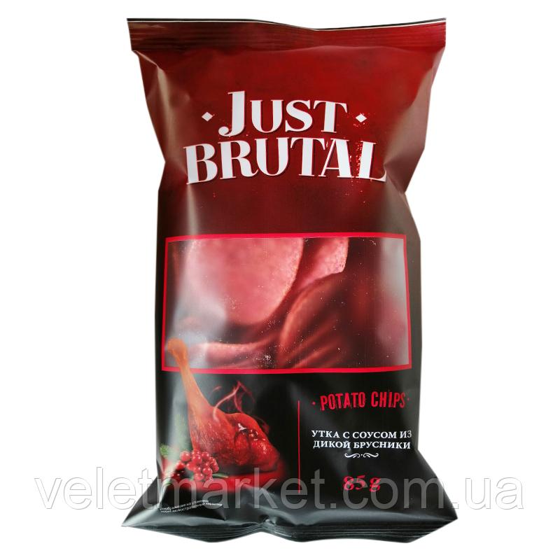 Чипсы Картофельные Just Brutal со вкусом утки с соусом из дикой брусники 85 Г