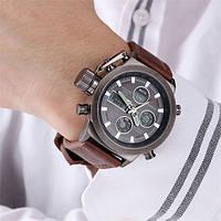 Наручные мужские армейские часы Amst Watch Коричневые