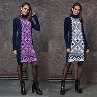 Теплое вязаное платье с красивым этническим узором. Цвета!, фото 1