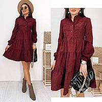 Бордовое вельветовое платье-трапеция, фото 1