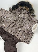 Зимний комбинезон на меху с капюшоном для собак Серебро