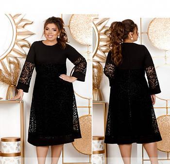 / Размер 58,60 / Женское стильное  платье большого размера  / 410А-Черный
