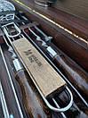 """Набір шампурів для барбекю """"Ведмідь"""" з нержавіючої сталі в дерев'яній коробці, фото 8"""