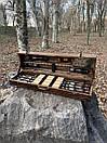 """Набір шампурів для барбекю """"Тигр"""" з нержавіючої сталі в дерев'яній коробці, фото 3"""