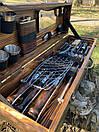"""Набор шампуров для барбекю """"Леопард"""" из нержавеющей стали в деревянной коробке, фото 4"""