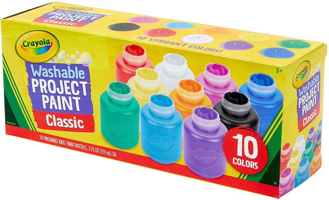 Crayola набор смываемых красок гуашь 10 классических цветов Washable Kids Paint Set 10 Count