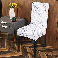 Натяжной чехол на стул из велюрового трикотажа белый мрамор