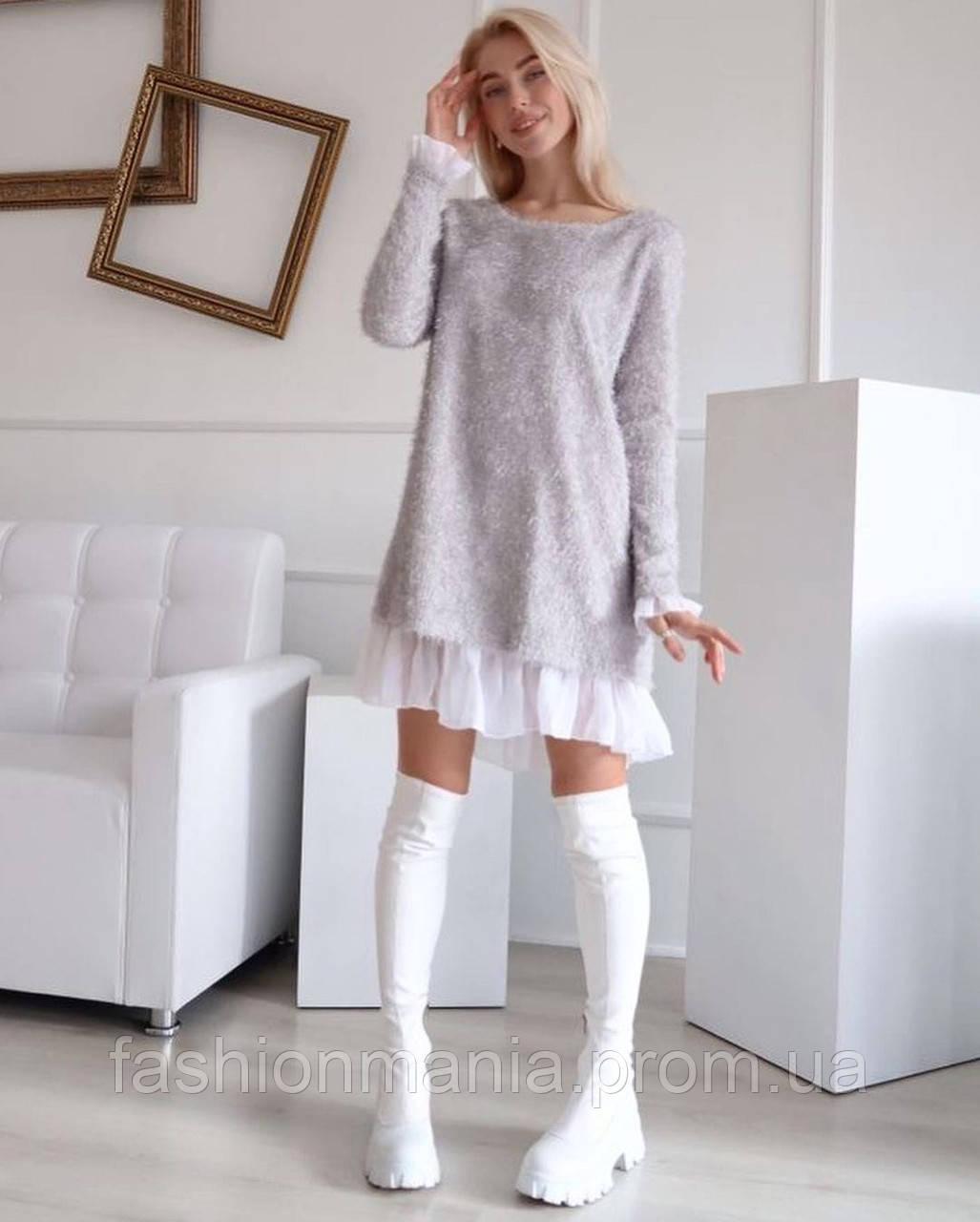 Платье женское Ангора травка серый, чёрный, бежевый