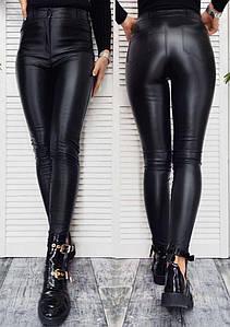 Кожаные штаны женские облегающие черные на флисе завышенная талия