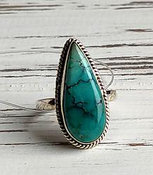 Индийское серебряное кольцо с натуральной бирюзой 19 размера