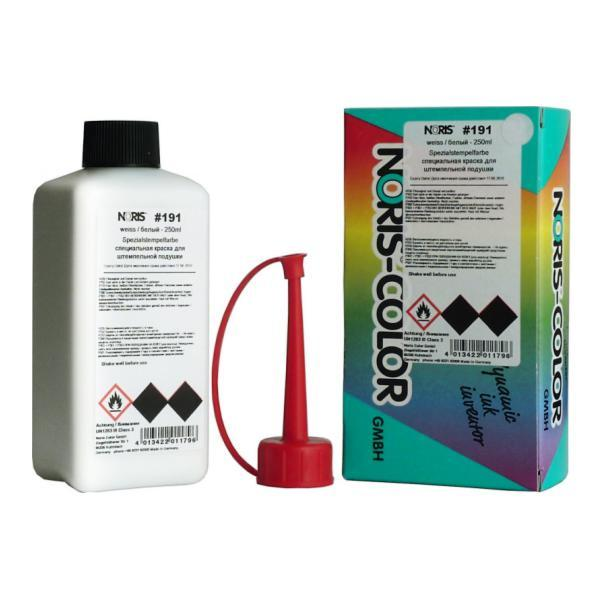 Штемпельная краска быстросохнущая на спиртовой основе 250 мл (белая), Noris 191