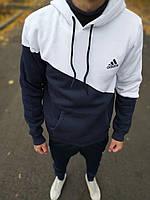 Чоловічий утеплений худі Adidas темно синій з білим, фото 1