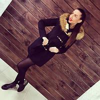Зимнее женское кашемировое пальто  с  цельновыкроенным капюшоном с меховой отделкой черное, темно-синее, цвета электрик