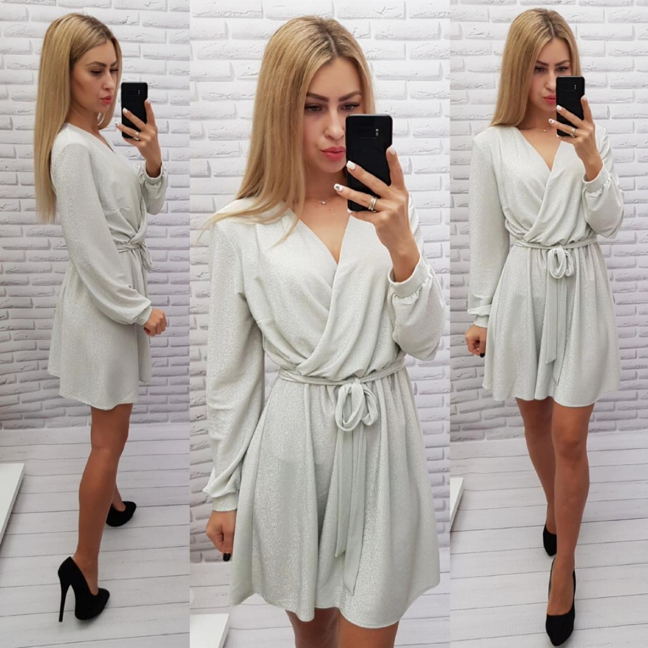 Платье из люрекса арт. 406 серебро / серебряное