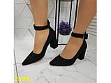 Туфли лодочки с острым носком с ремешком застежкой низкий каблук замшевые К2388, фото 6
