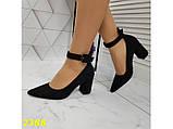 Туфли лодочки с острым носком с ремешком застежкой низкий каблук замшевые К2388, фото 2