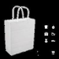 Паперовий пакет білий з крученими ручками 200*80*240мм (Ш. Р. В) Пл 100г (1191), фото 1
