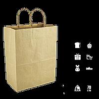 Паперовий пакет крафтовый з крученими ручками 280*160*350мм (Ш. Р. В) Пл 70г Завантаження 6кг (1493), фото 1
