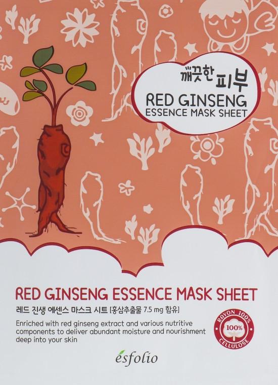Тканевая маска для лица c экстрактом красного женьшеня Esfolio Pure Skin Red Ginseng Essence Mask Sheet 25 г