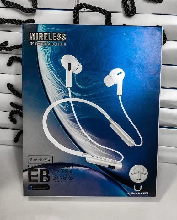 Беспроводные блютуз наушники NECKBAND X4 с креплением на шее для спорта Bluetooth 5 с микрофоном на телефон