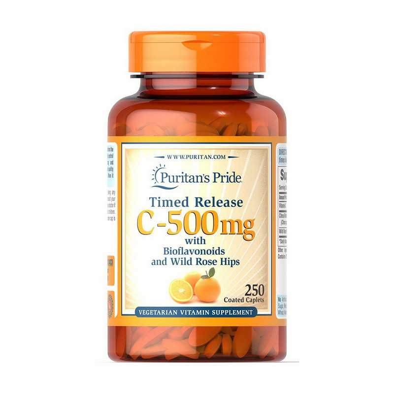Витамин Ц-500 мг Puritan's Pride Vitamin C-500 mg with Bioflavonoids and Wild Rose Hips Timed Release 250 cap