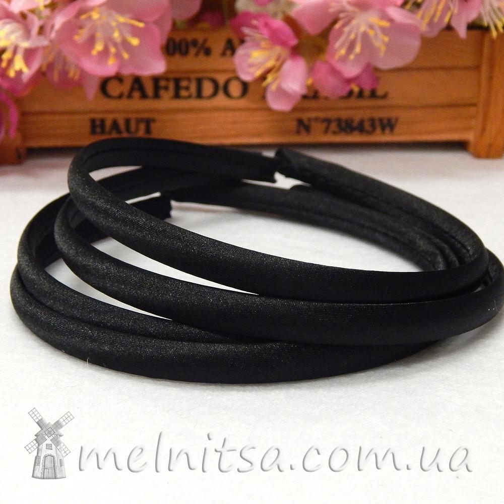 Ободок для волос, обтянутый атласом, черный, 1 см