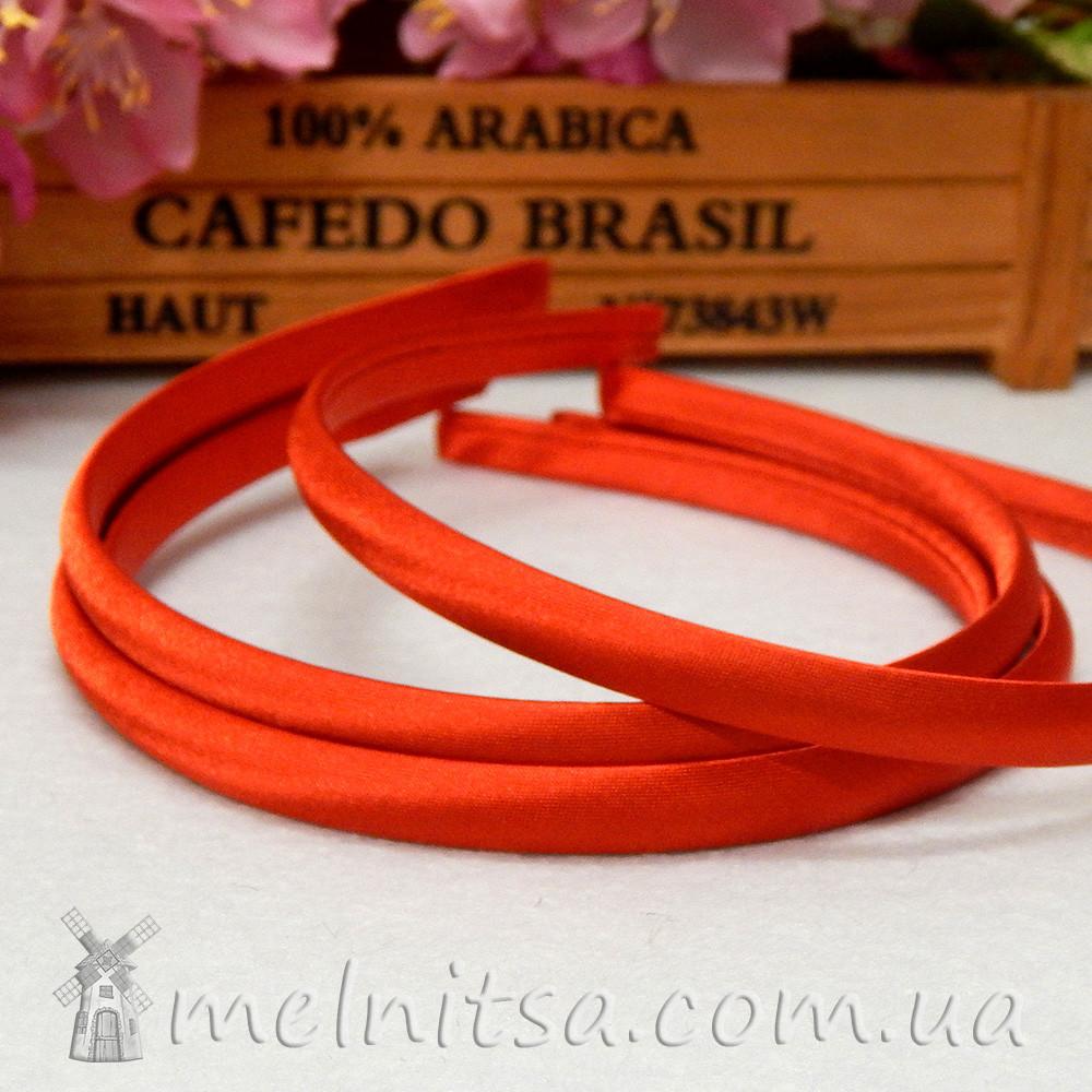 Ободок для волос, обтянутый атласом, красный, 1 см